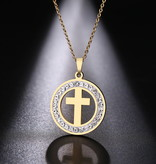 Damen Halskette mit Anhänger Kreuz
