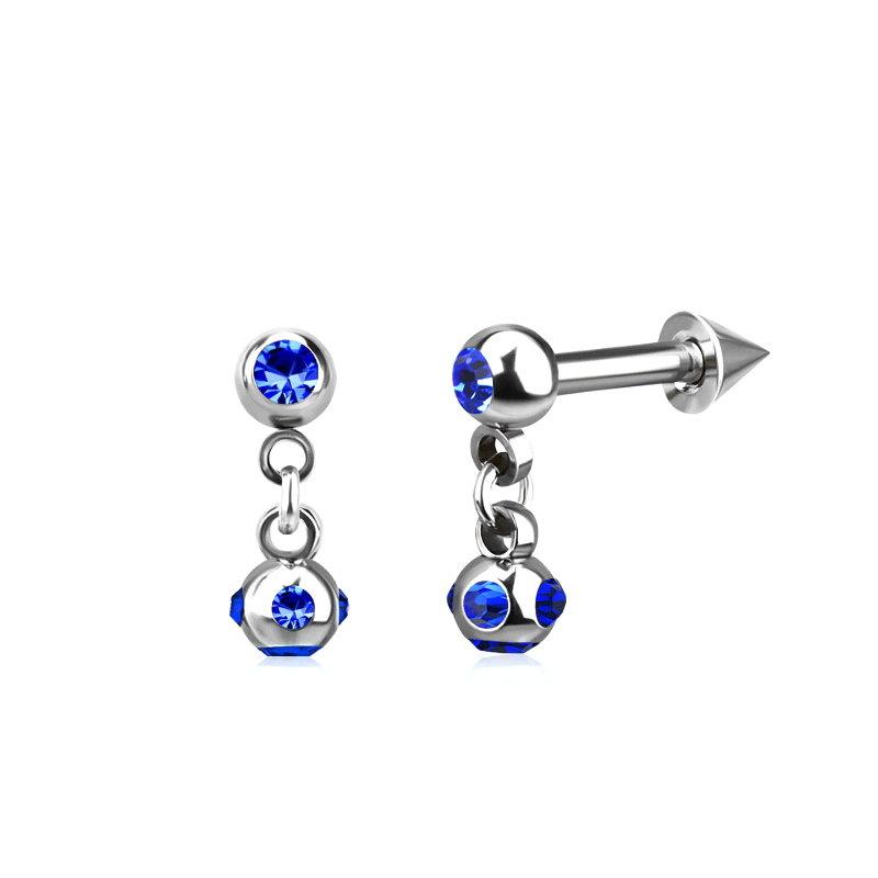 Ohr Helix Piercing mit blauen Steinchen