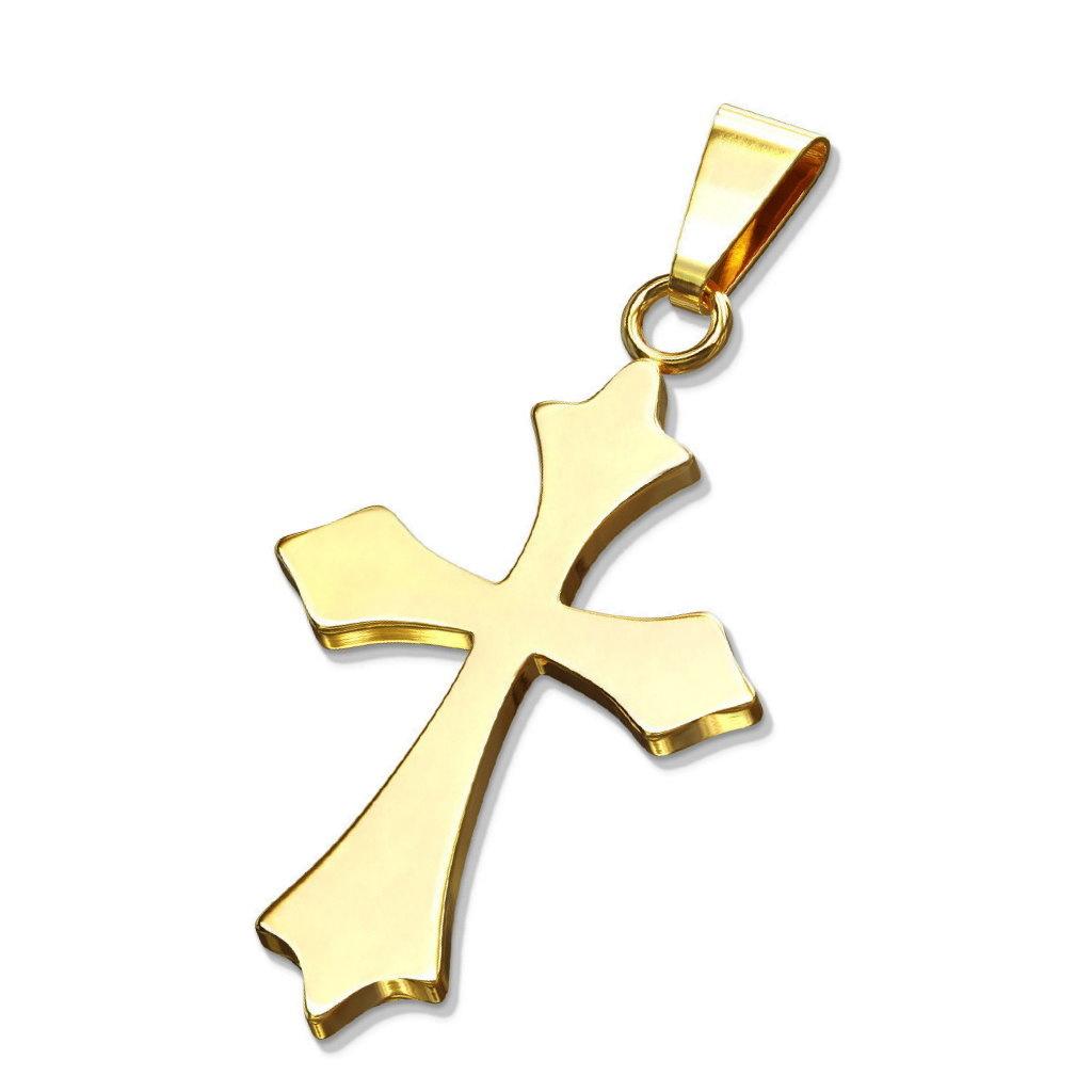 Goldfärbiger Ketten Anhänger Kreuz