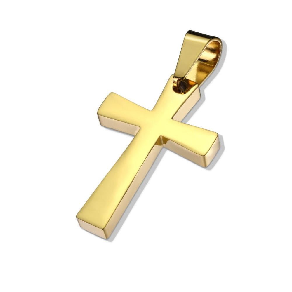 Goldfärbiger Kettenanhänger Kreuz Edelstahl