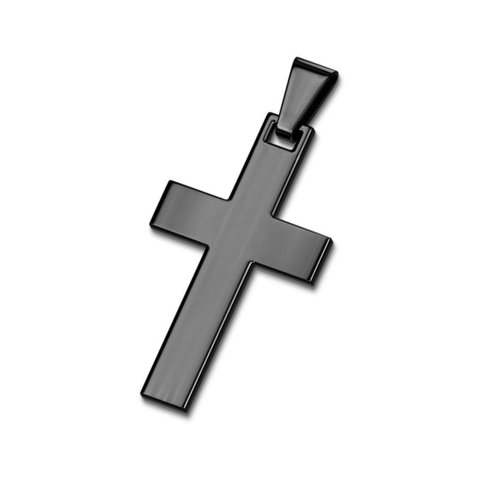 Schwarzer Kreuzanhänger aus Edelstahl