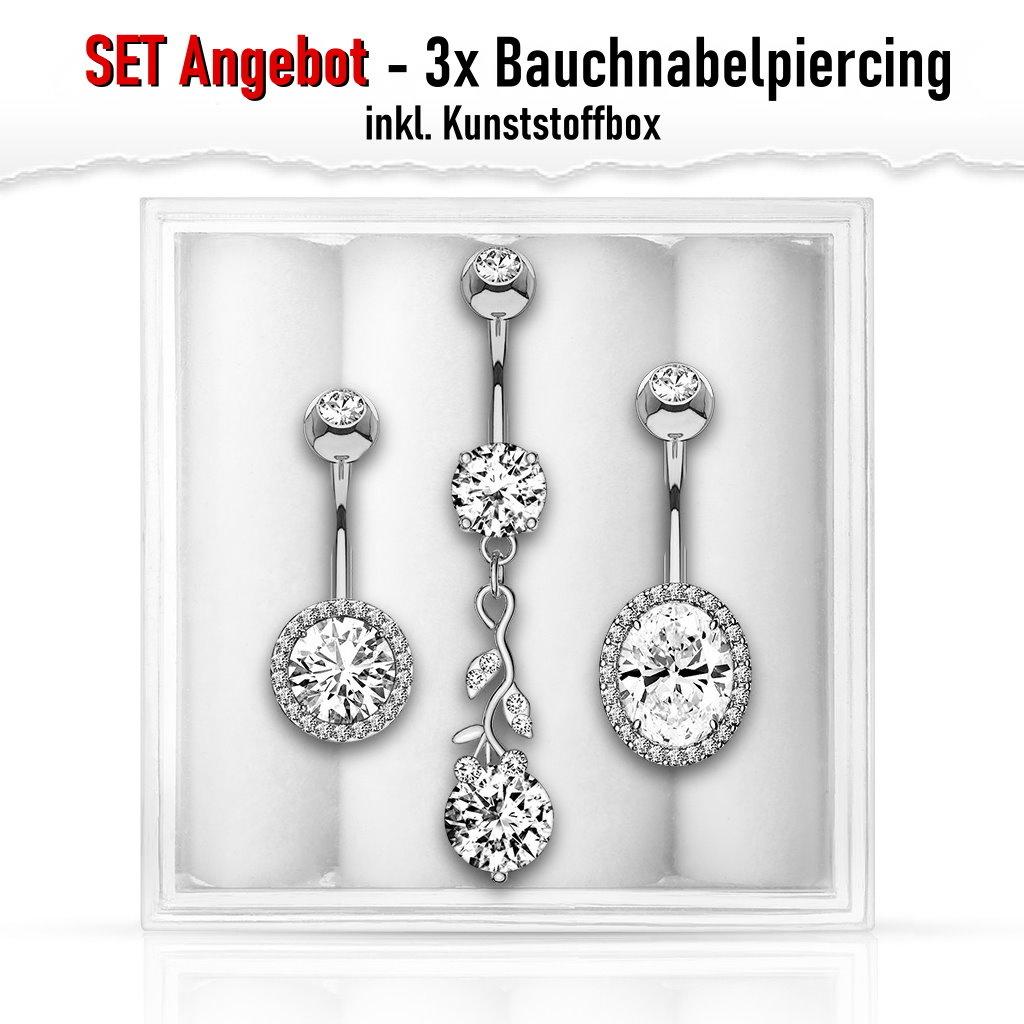 3er Set Angebot Nabelpiercing Kristall