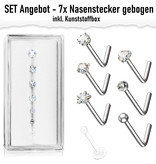 7er Set Nasenstecker gebogen