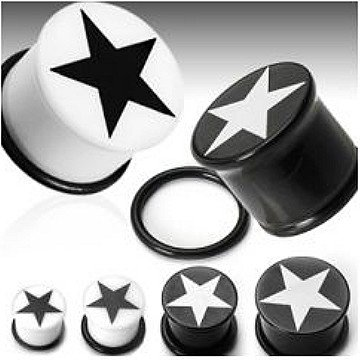 Stern Acryl Plug in schwarz-weiß
