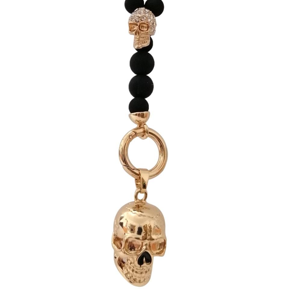 Perlen Y-Halskette mit Skull Anhänger