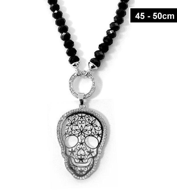 Totenkopf Halskette mit schwarzen Glasperlen