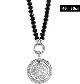 Schwarze Damen Halskette Glitzer