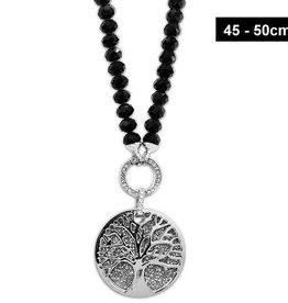Schwarze Damenhalskette Lebensbaum