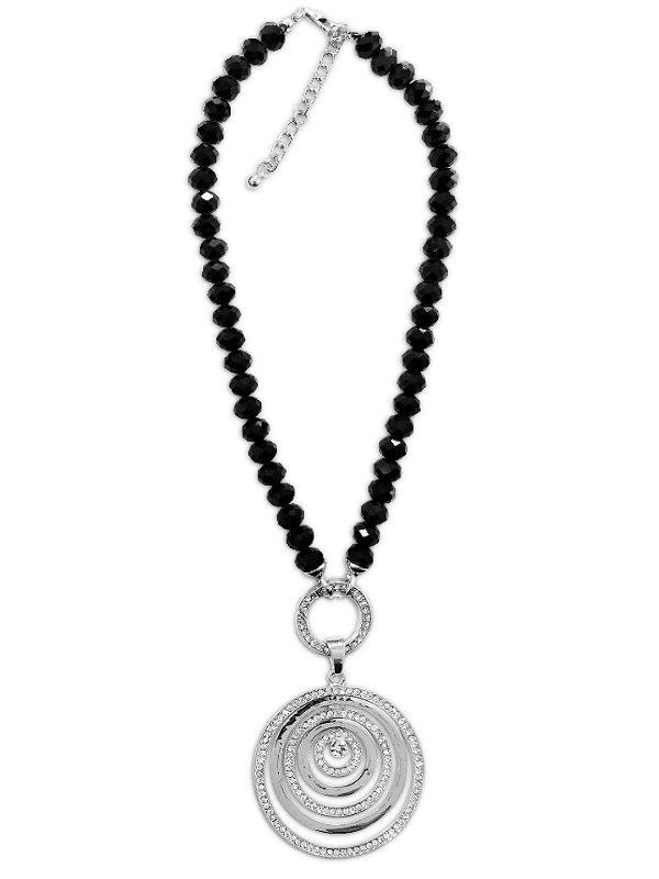 Schwarze Damen Halskette mit Zirkoniastein