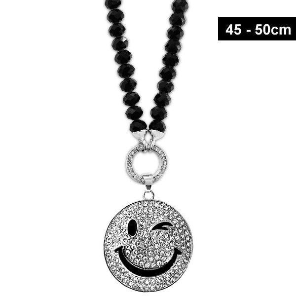 Damen Halskette  Smiley mit schwarzen Glasperlen