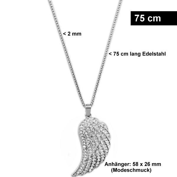 Feine Damen Halskette Edelstahl mit Flügel