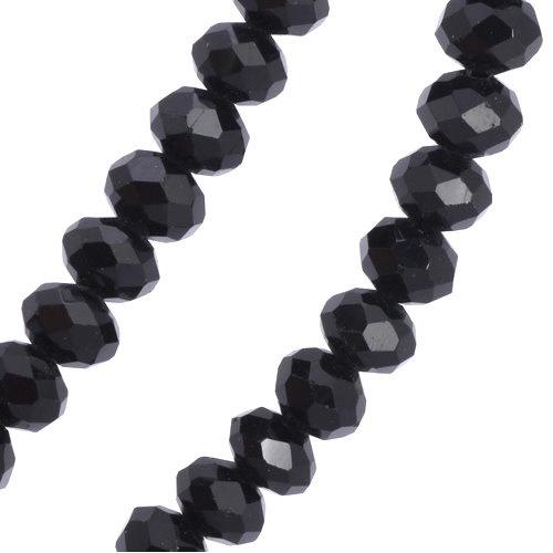 80 cm lange schwarze Damen Halskette mit Zirkoniastein