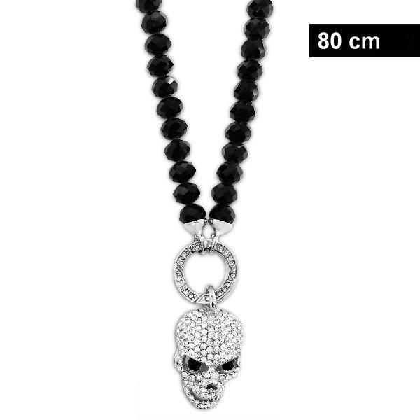 Lange schwarze Damen Halskette Totenkopf