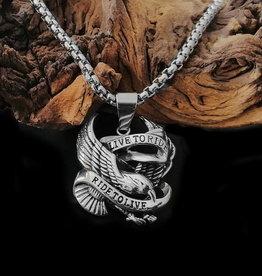 Halskette mit Adler Anhänger Live to Ride