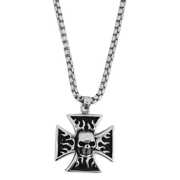 Kettenanhänger Kreuz mit Totenkopf