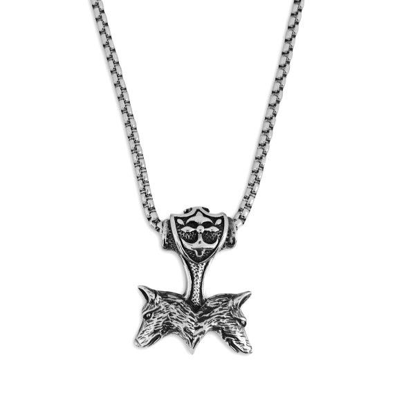 Halskette mit Wolfsanhänger aus Edelstahl