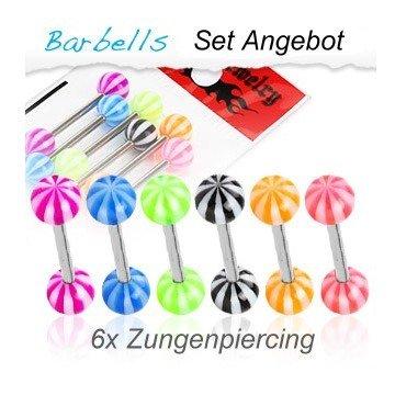 Zungenpiercing SET - 6 Stück