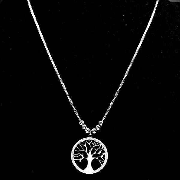 Lange Halskette mit Lebensbaum aus Edelstahl