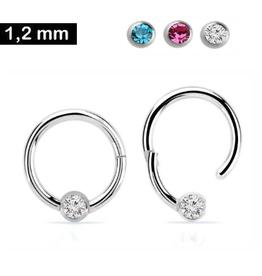 1,2 mm Piercing Ring mit Stein