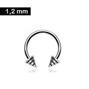Hufeisenring 1,2 mm - schwarz gestreift