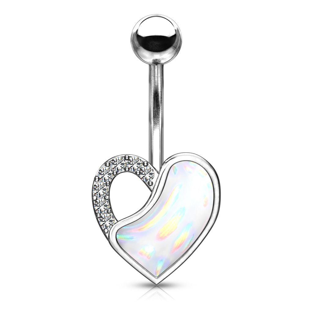 Bauchnabelpiercing Herz mit kristall Steinchen