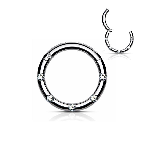 Piercing Clicker mit 5 kristall Steinchen