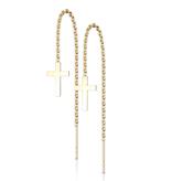 Goldfärbige Edelstahl Kreuz Ohrringe hängend