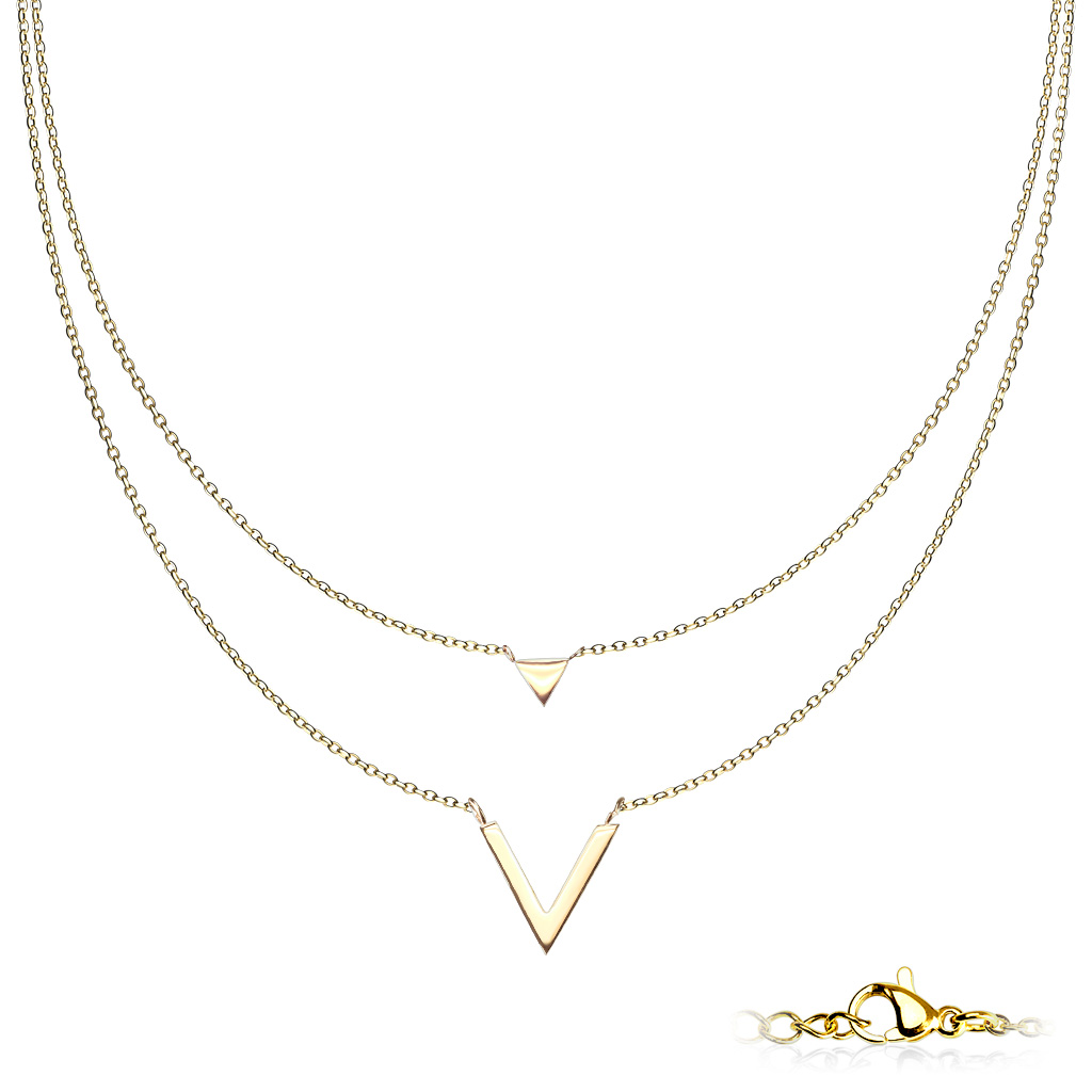 Goldfärbige Edelstahl Damen Halskette 2-reihig