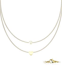 Edelstahlkette Perle mit Herz