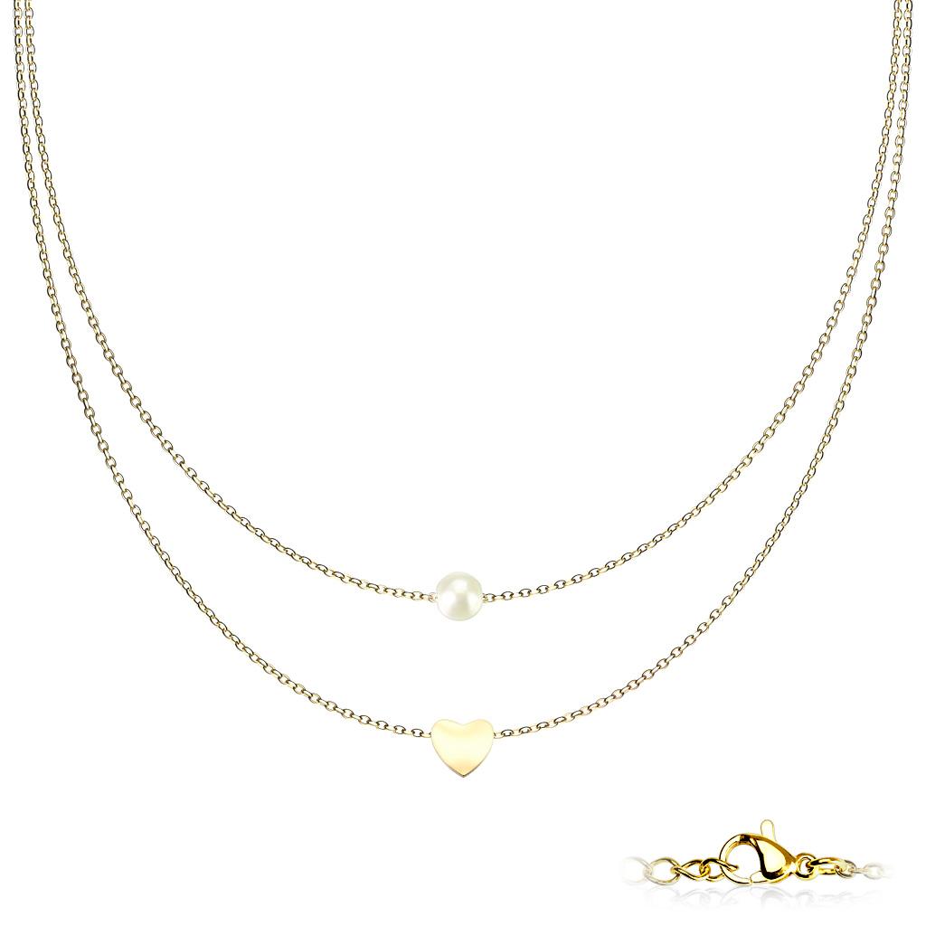 Goldfärbige Edelstahlkette Perle mit Herz