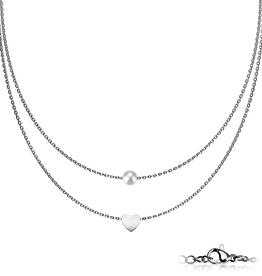 Edelstahlkette Herz mit Perle