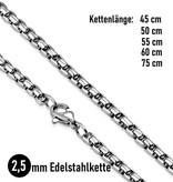 2,5 mm Edelstahl Halskette  45 bis 75 cm liegerbar
