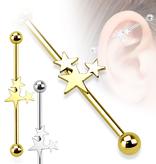 38mm Industrial Piercing mit 3 Sterne