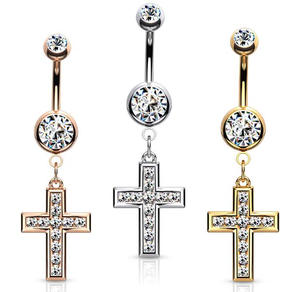 Kreuz Bauchnabelpiercing mit kristall Steinchen