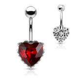 Bauchpiercing Herz mit roten Zirkoniastein