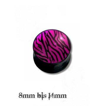 Ohr Plug Pink mit Zebra Motiv