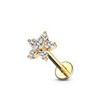Tragus Piercing Blume goldfärbig