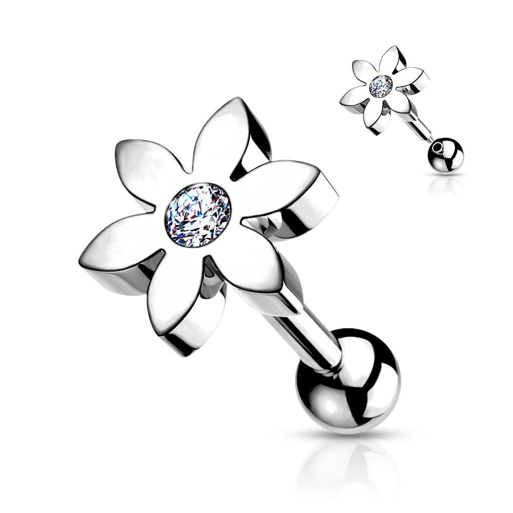 Tragus Piercing Blume mit Stein