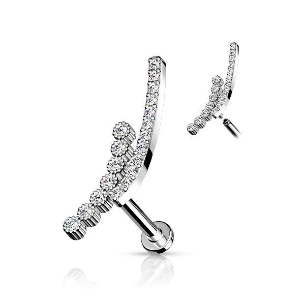 Helix Piercing kristall mit Innengewinde