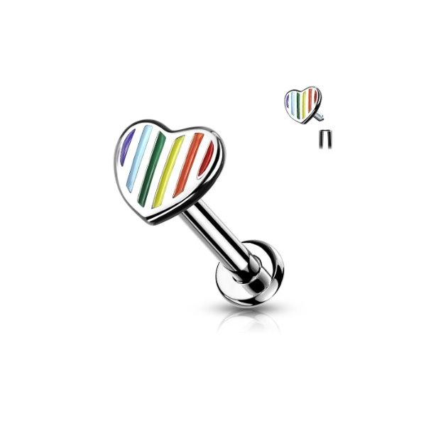 Tragus Piercing Herz mit Regenbogenfarben