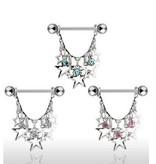 Brustpiercing mit Sternen - 3 Farben