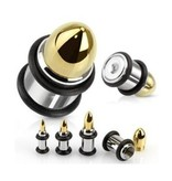 Ohr Plug Patrone in Gold - Silber