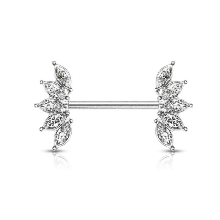 Brustpiercingstab Blume kristall Steinchen