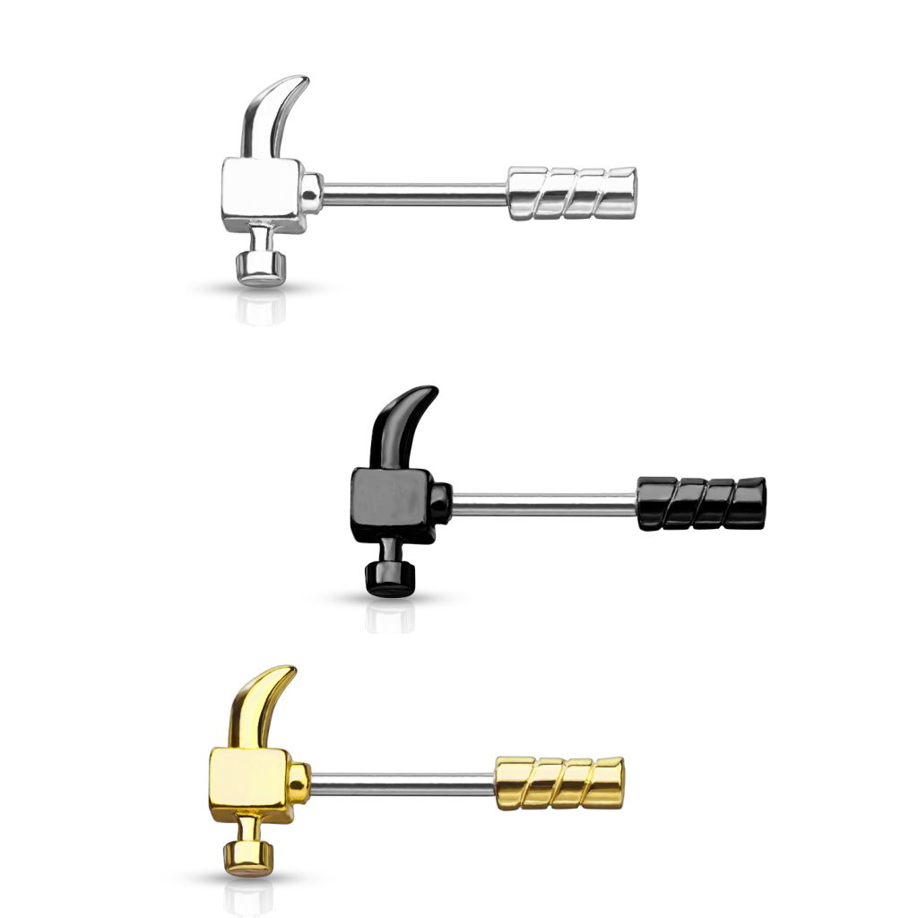 Brustwarzenpiercing  Hammer - 3 Farben lieferbar