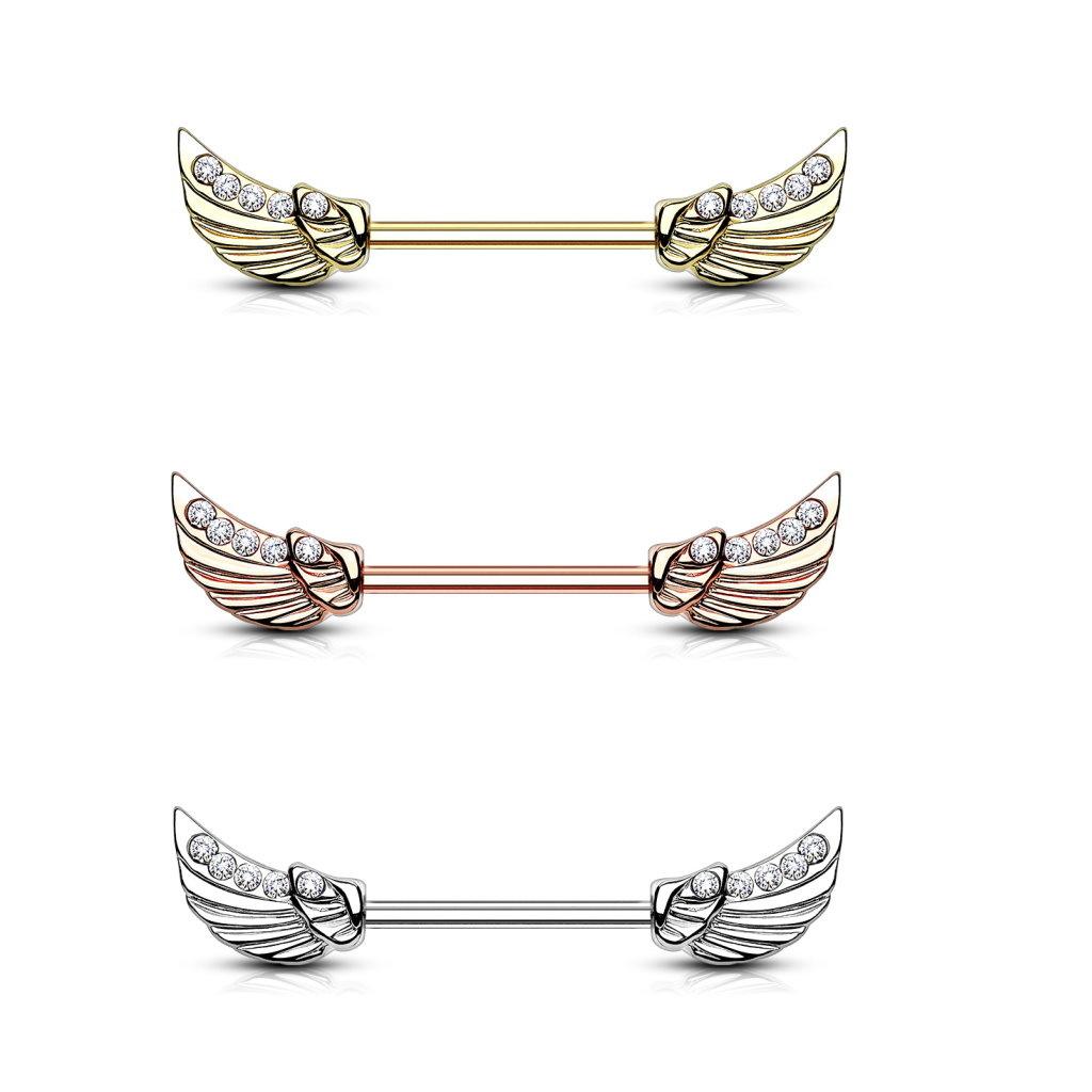 Nippelpiercingstab mit Flügel - 3 Farben lieferbar