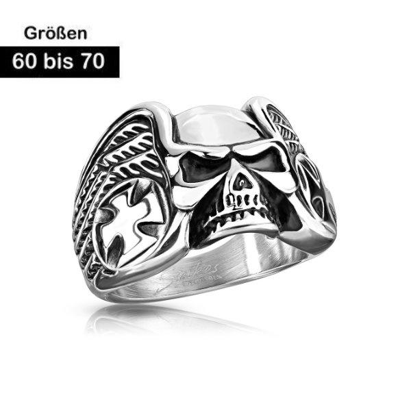 Edelstahl Ring Totenkopf aus Edelstahl