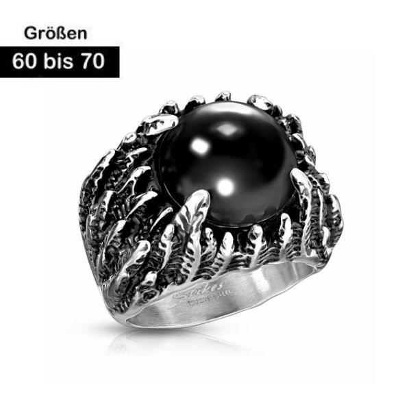 Herren Edelstahl Ring mit schwarzen Stein