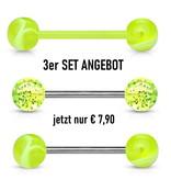 Gelbes Kunststoff Zungenpiercing - 3er Set Angebot