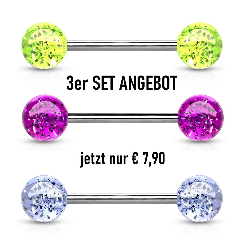 3er Set Zungenpiercing - 3 Farben ein Set