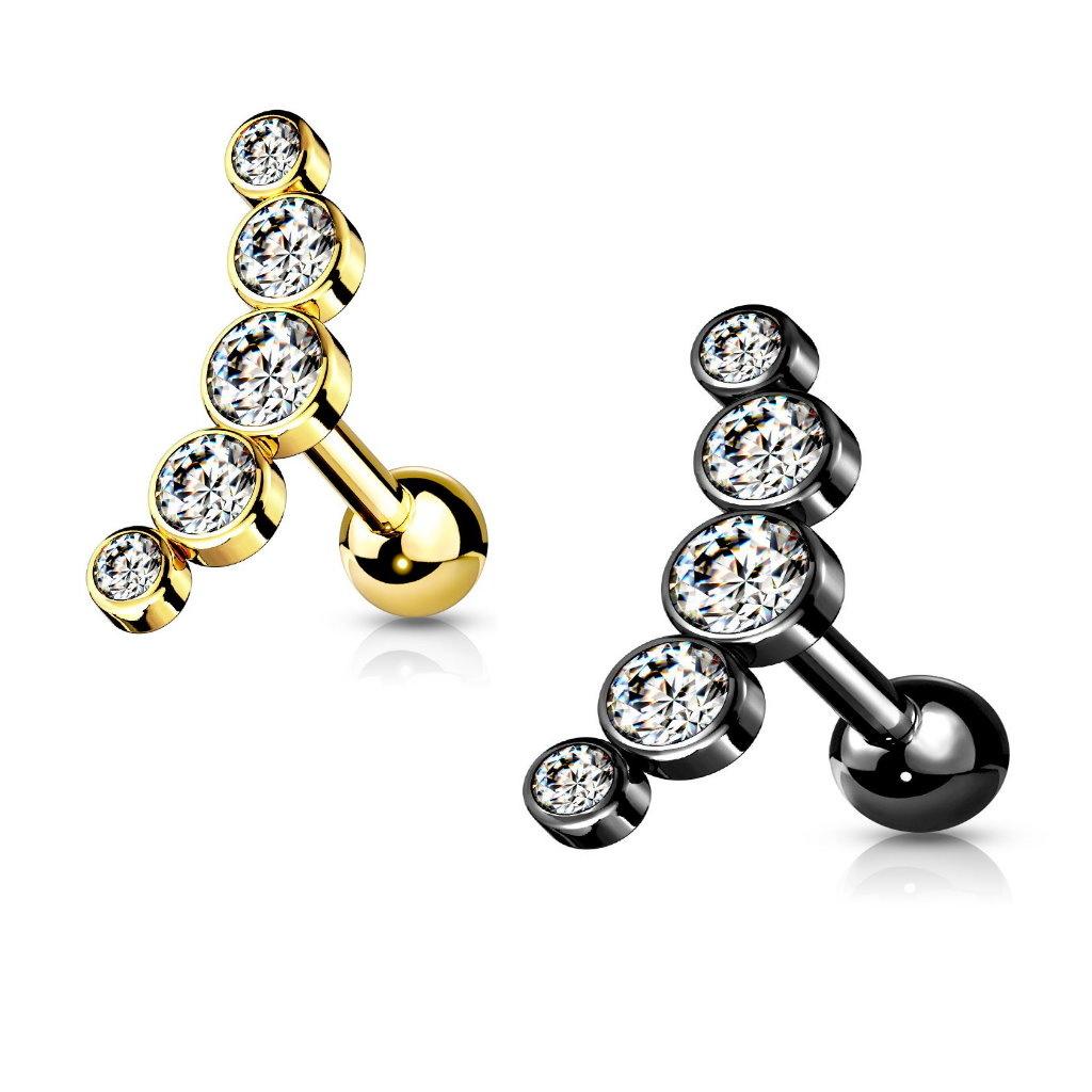 Helix Piercing mit 5 kristall Kugeln